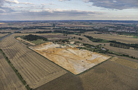 Germany, Quedlinburg, aerial view of quartz sand pit in the evening - PVCF000553