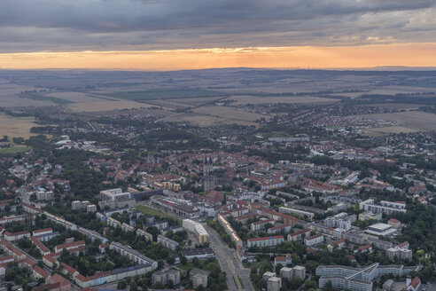 Germany, aerial view of Halberstadt at evening twilight - PVCF000560