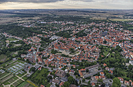Germany, aerial view of Quedlinburg in the evening - PVCF000576