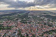 Germany, aerial view of Quedlinburg in the evening - PVCF000587