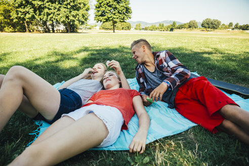 Three teenage friends relaxing in meadow - AIF000064