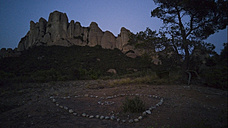 Heart made with stones in the mountains, Montserrat, Catalonia, Spain - SKCF000003