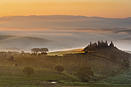 Italy, Tuscany, San Quirico d'Orcia, view to rolling landscape at sunrise in the fog - LOMF000043