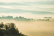 Italy, Tuscany, San Quirico d'Orcia, view to rolling landscape at sunrise in the fog - LOMF000037