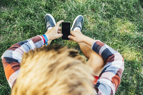 Teenage boy sitting on meadow with smartphone - AIF000084