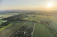 Germany, aerial view of Nothern Harz foreland with Harz low mountain range in the background - PVCF000607