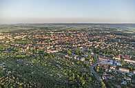 Germany, aerial view of Quedlinburg at evening twilight - PVCF000593