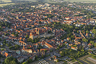 Germany, aerial view of Quedlinburg at evening twilight - PVCF000597