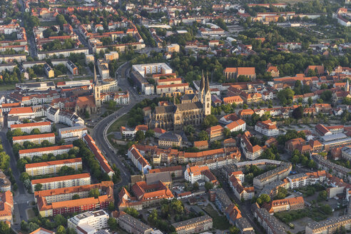 Germany, aerial view of Halberstadt at evening twilight - PVCF000599