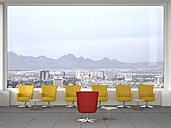 Modern meeting room with swivel chairs, and view to city, 3D Rendering - UWF000592