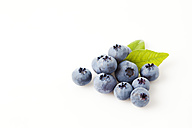 Blueberries with leaves on white ground - CSF026142