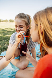 Two teenage girls sharing an ice tea in park - AIF000049