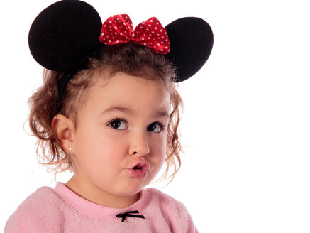 Portrait of litte girl dressed up as Mickey Mouse pouting mouth - ERLF000013