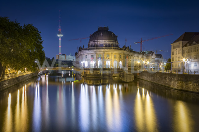 Germany, Berlin, Bode Museum at the Spree river with TV-Tower at night - NKF000352