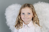 Portrait of blond little girl with angel wings - ECF001815