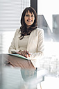 Portrait of smiling businesswoman in office - ZEF007402