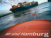 Germany, Hamburg, Container ship arriving in the harbor - RJ000488