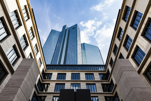 Germany, Frankfurt, view to skyscrapers of Deutsche Bank from below - MPA000031