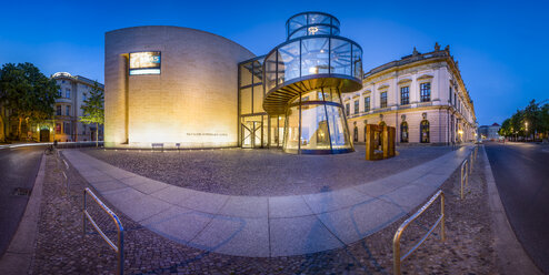 Germany, Berlin, panoramic view of German Historic Museum at twilight - NK000375