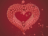 Heart built of bubbles in front of red background, 3D Rendering - HWIF000002