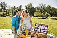 Happy couple having a picnic in park, pregnant woman - ROMF000151