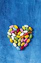 Jellybeans, heart shape, blue wood - MYF001122