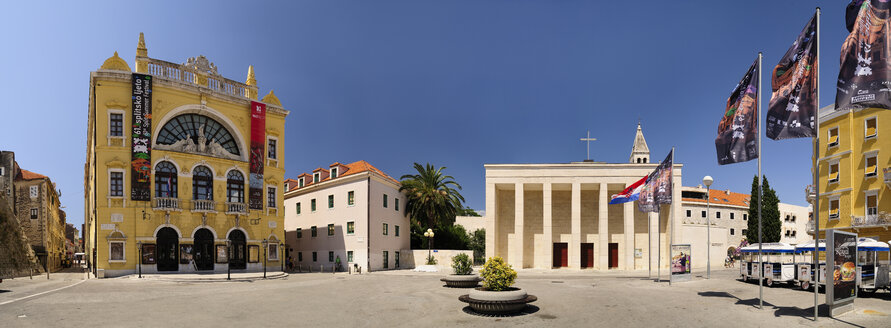 Croatia, Split, Gaje Bulat square with Church of Our Lady of Good Health and National Theater - BT000358
