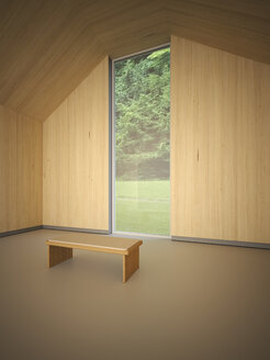 Empty room with wooden wall cladding and a bench - UWF000597