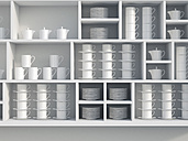 White shelf with dishes, 3D Rendering - UWF000600
