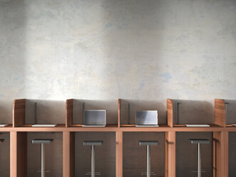Row of work places with laptops, 3D Rendering - UWF000603