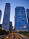 USA, Illinois, Chicago, Aon Center, Blue Cross Shield Tower, Columbus Drive, blue hour - DISF002156