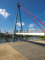 Germany, Hesse, Frankfurt, Financial district, Holbeinsteg bridge over Main river - AMF004152