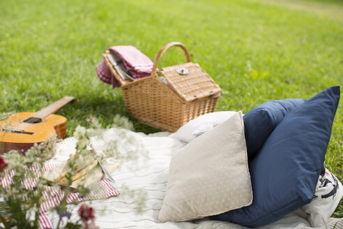 Picnic blanket with guitar and cushions on a meadow - KSWF001563