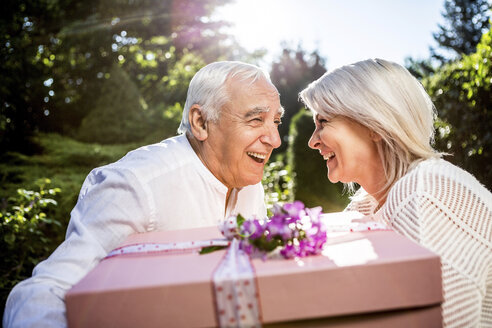 Happy elderly couple with large present outdoors - RKNF000236