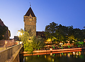Germany, Nuremberg, Schuldturm and Restaurant Celona on island Schuett at Pegnitz River - SIEF006745