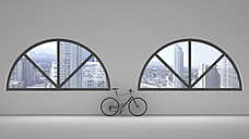 Loft with two round arch windows and bicycle leaning on the wall, 3D Rendering - UWF000607