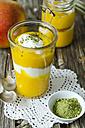Mango yogurt dessert in glass, matcha powder - ODF001244
