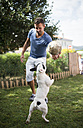 Man with a ball playing with a French bulldog - RAEF000430