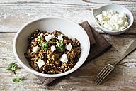 Barley risotto with champignon, feta cheese and coriander - EVGF002173