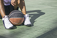 Man sitting on the floor with basketball ball between his feet - ABZF000116