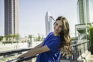 Germany, Frankfurt, portrait of smiling businesswoman - RIBF000283