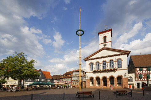 Germany, Hesse, Seligenstadt, market square with may pole and town hall - SIEF006780