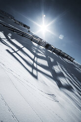 Austria, Tyrol, Ischgl, avalanche protection in winter landscape - ABF000658