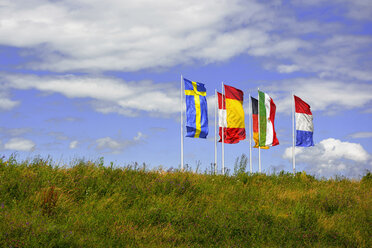 Germany, Munich, flags of six European countries blowing in the wind - AXF000770