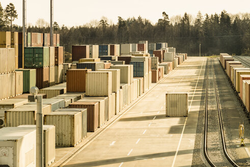 Germany, Bavaria, containers at freight yard - OPF000076