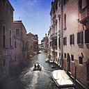 Italiy, Venice, boat on canal - LVF003815