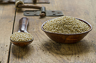 Wooden bowl and spoon of quinoa on wood - ODF001294