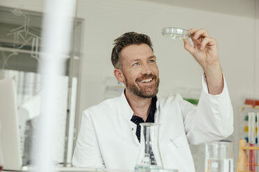 Scientist looking at petri dish in lab - MFF002195
