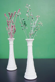 Two Moroccan flower vases with varnished dried flowers - GISF000160