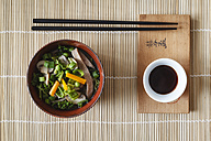 Bowl of miso soup with carrots, champignons and savoy - EVGF002245